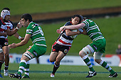 Tasesa Lavea  gets wrapped up by James Goode. Air New Zealand Cup rugby game between the Counties Manukau Steelers & Manawatu Turbos, played at Growers Stadium Pukekohe on Staurday September 20th 2008..Counties Manukau won 27 - 14 after trailing 14 - 7 at halftime.
