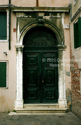 Venice, Italy - March 24, 2006 -- Entrance to the Scola Spagnola (Spanish Synagogue), a Sephardic Jewish Synagogue which was built in 1555 in the Campo de Gheto Novo (Jewish Ghetto), Venice Italy by Spanish and marrano Jews.  in the Campo de Gheto Novo (Jewish Ghetto), Venice Italy.  It is the only synagogue to continuously hold services since it was opened.  The main sanctuary is up some steep stairs on the top of the building..Credit: Ron Sachs / CNP