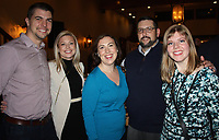 NWA Democrat-Gazette/CARIN SCHOPPMEYER John Roberts and Nicole Simpson (from left), Michaela and Jeff Roberts and Megan Putney enjoy the Heart Ball Reveal Party.