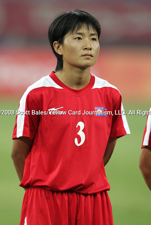 09 August 2008: Om Jong Ran (PRK).  The women's Olympic soccer team of Brazil defeated the women's Olympic soccer team of North Korea 2-1 at Shenyang Olympic Sports Center Wulihe Stadium in Shenyang, China in a Group F round-robin match in the Women's Olympic Football competition.