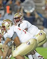 Sept. 19, 2009; Provo, UT, USA; Florida State Seminoles quarterback (3) E.J. Manuel against the BYU Cougars at LaVell Edwards Stadium. Florida State defeated BYU 54-28. Mandatory Credit: Mark J. Rebilas-