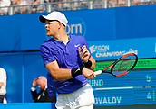 June 19th 2017, Queens Club, West Kensington, London; Aegon Tennis Championships, Day 1; Kyle Edmund (GBR) hits a forehand during his 1st round singles match against Denis Shapovalov (CAN)