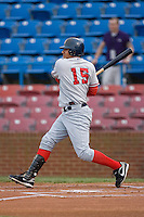 Francisco Plasencia #15 of the Potomac Nationals follows through on his swing versus the Winston-Salem Dash at Wake Forest Baseball Stadium May 8, 2009 in Winston-Salem, North Carolina. (Photo by Brian Westerholt / Four Seam Images)