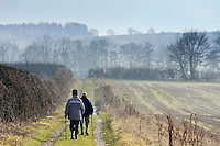 Ramblers in the Cotswolds, Gloucestershire, United Kingdom.