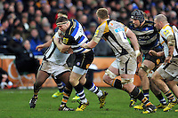 Henry Thomas of Bath Rugby takes on the Wasps defence. Aviva Premiership match, between Bath Rugby and Wasps on February 20, 2016 at the Recreation Ground in Bath, England. Photo by: Patrick Khachfe / Onside Images