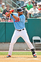 Aaron Hicks (32) of the New Britain Rock Cats bats during a game against the Reading Fightin Phils at New Britain Stadium on June 22, 2014 in New Britain, Connecticut.  New Britain defeated Reading 5-3.  (Gregory Vasil/Four Seam Images)
