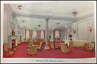 BNPS.co.uk (01202 558833)<br /> Pic: HAldridge/BNPS<br /> <br /> Reading and writing room.<br /> <br /> Incredibly rare illustrations and photos of the opulent surroundings of the Titanic have come to light in two brochures which describe the doomed ship as 'practically unsinkable.'<br /> <br /> The colour drawings depict the plush accommodation and facilities that first and second class passengers enjoyed on the luxury liner.<br /> <br /> They offer rare glimpses of the promenade deck, reading room, swimming baths, smoking room, main staircase, the Turkish bath, state room and parlour suit accommodation, dining room and reception room.<br /> <br /> Alongside the images there is an equally scarce copy of the sailing schedule for the doomed ship, highlighting its 'lost' trans-Atlantic service.<br /> <br /> The itinerary shows the Titanic would have gone on to make four trips from Southampton to New York between April to July 1912 had it not sunk on its maiden voyage with the loss of 1,522 lives.<br /> <br /> The two brochures and sailing schedule have now been put up for sale 105 years after the tragedy. They have a pre-sale estimate of a combined &pound;20,000.
