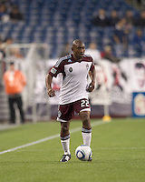 Colorado Rapids defender Marvell Wynne (22) brings the ball forward. In a Major League Soccer (MLS) match, the New England Revolution tied the Colorado Rapids, 0-0, at Gillette Stadium on May 7, 2011.