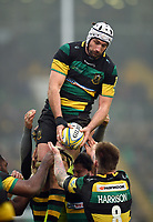 Michael Paterson of Northampton Saints wins the ball at a lineout. Aviva Premiership match, between Northampton Saints and Sale Sharks on March 3, 2018 at Franklin's Gardens in Northampton, England. Photo by: Patrick Khachfe / JMP