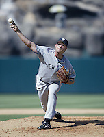 Steve Karsay of the New York Yankees pitches during a 2002 MLB season game against the Los Angeles Angels at Angel Stadium, in Anaheim, California. (Larry Goren/Four Seam Images)
