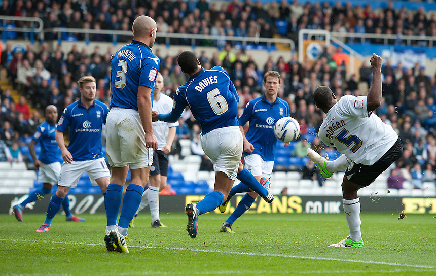 Birmingham City's Curtis Davies blocks this shot from Leicester City's Wes Morgan ..Football - npower Football League Championship - Birmingham City v Leicester City - Saturday 20th October 2012 - St Andrews - Birmingham..