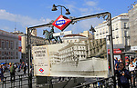 Sol metro station sign, Plaza de la Puerta del Sol, Madrid city centre, Spain