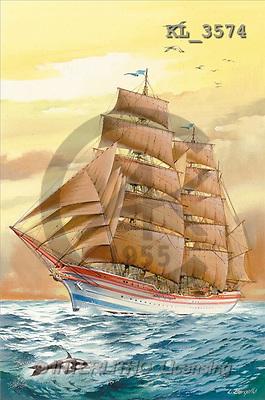 Interlitho, Luis, LANDSCAPES, paintings, sailing ship(KL3574,#L#) Landschaften, Schiffe, paisajes, barcos, llustrations, pinturas ,puzzles