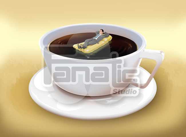Illustrative image of businessman lying on raft in coffee cup representing business holiday