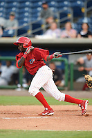 Clearwater Threshers outfielder Roman Quinn (13) at bat during a game against the Tampa Yankees on June 26, 2014 at Bright House Field in Clearwater, Florida.  Clearwater defeated Tampa 4-3.  (Mike Janes/Four Seam Images)