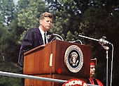 "United States President John F. Kennedy speaks at the American University commencement in Washington, D.C.  on June 10, 1963.  This speech is known as Kennedy's ""Pax Americana"" speech, where he outlined his vision for world peace.  <br /> Credit: Arnie Sachs / CNP"