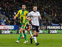 Bolton Wanderers' Joe Pritchard ahead of West Bromwich Albion's Sam Field<br /> <br /> Photographer Andrew Kearns/CameraSport<br /> <br /> The EFL Sky Bet Championship - Bolton Wanderers v West Bromwich Albion - Monday 21st January 2019 - University of Bolton Stadium - Bolton<br /> <br /> World Copyright © 2019 CameraSport. All rights reserved. 43 Linden Ave. Countesthorpe. Leicester. England. LE8 5PG - Tel: +44 (0) 116 277 4147 - admin@camerasport.com - www.camerasport.com