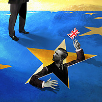 Businessman waving Union Jack in a hole in European Union flag