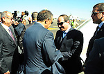A handout picture made available by the Office of the Egyptian President shows Ethiopian Foreign Minister, Tedros Adhanom Ghebreyesus (R), welcoming the Egyptian President, Abdel Fattah al-Sisi (L), to Addis Ababa, Ethiopia, 29 January 2015. According to local media reports al-Sisi is heading a delegation on a three day visit ahead of the African Summit in Ethiopia, which has enjoyed a tense relationship with Egypt as a result of the Grand Renaissance Dam project which could reduce the amount of Egypt's share of the Nile waters. apaimages / Egyptian Presidency