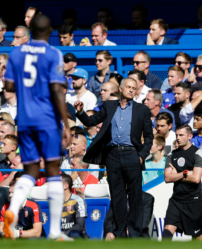 Chelsea Manager Jose Mourinho reacts<br /> <br /> Photographer Craig Mercer/CameraSport<br /> <br /> Football - Barclays Premiership - Chelsea v Arsenal - Saturday 19th September 2015 - Stamford Bridge - London<br /> <br /> &copy; CameraSport - 43 Linden Ave. Countesthorpe. Leicester. England. LE8 5PG - Tel: +44 (0) 116 277 4147 - admin@camerasport.com - www.camerasport.com