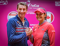 Den Bosch, The Netherlands, Februari 8, 2019,  Maaspoort , FedCup  Netherlands - Canada, Draw, Captains Paul Haarhuis (NED) ane Heidi El Tabakh (CAN) Photo: Tennisimages/Henk Koster