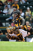 Pittsburgh Pirates catcher Elias Diaz (66) during the Black & Gold intrasquad game on March 2, 2015 at McKechnie Field in Bradenton, Florida.  (Mike Janes/Four Seam Images)