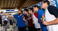 Massimiliano Rosolino <br /> Marco Orsi Fiamme Oro / CN Uisp Bologna Argento <br /> Matteo Milli in sport Rane Rosse Medaglia Oro <br /> Simone Sabbioni Esercito / Swim Pro SS9 Bronzo <br /> Luca Matthew Spinazzola Aurelia Bronzo <br /> 50m Dorso Uomini <br /> Riccione 01/12/2018 Stadio del Nuoto <br /> Campionato Italiano Open vasca corta 2018 FIN<br /> Photo &copy; Andrea Staccioli/Deepbluemedia/Insidefoto