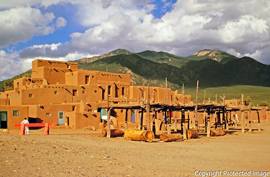 Taos Pueblo. Pueblos are modern and old communities of Native Americans in the Southwestern United States.