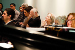 Participants taking part in the Veteran-Civilian Dialogue listen to a performance at Intersections International on February 4, 2011 in New York City.  (PHOTOGRAPH BY MICHAEL NAGLE)