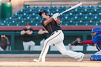 AZL Giants Orange designated hitter Sean Roby (5) follows through on his swing during an Arizona League game against the AZL Rangers at Scottsdale Stadium on August 4, 2018 in Scottsdale, Arizona. The AZL Giants Black defeated the AZL Rangers by a score of 3-2 in the first game of a doubleheader. (Zachary Lucy/Four Seam Images)