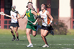 Santa Barbara, CA 02/13/10 - Stephanie Roberts (Texas #6) and Lindsay Tsat (Oregon #15) in action during the Texas-Oregon game at the 2010 Santa Barbara Shoutout, Texas defeated Oregon 11-9.