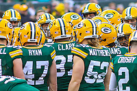 Green Bay Packers players huddle during a National Football League game against the Tampa Bay Buccaneers on December 2nd, 2017 at Lambeau Field in Green Bay, Wisconsin. Green Bay defeated Tampa Bay 26-20. (Brad Krause/Krause Sports Photography)