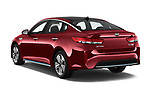 Car pictures of rear three quarter view of a 2018 KIA Optima Plug-In Hybrid 4 Door Sedan angular rear