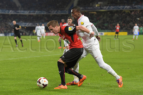 27.03.2014 Rennes, France. Anders Konradsen (Rennes) vs Salomon KALOU (lille) in action during the Coupe de France quarter final match between Rennes and Lille. Rennes won the match 2-0.