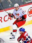 31 March 2010: Carolina Hurricanes' defenseman Brett Carson in action against the Montreal Canadiens at the Bell Centre in Montreal, Quebec, Canada. The Hurricanes defeated the Canadiens 2-1. Mandatory Credit: Ed Wolfstein Photo