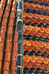 Tiling at dome, church of Saint Justa and Saint Rufina tower detail, Orihuela, Alicante province, Spain