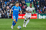 Francisco Portillo of Getafe FC and Vinicius Junior of Real Madrid during La Liga match between Getafe CF and Real Madrid at Coliseum Alfonso Perez in Getafe, Spain. January 04, 2020. (ALTERPHOTOS/A. Perez Meca)