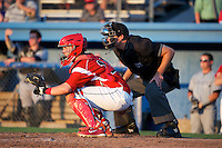Batavia Muckdogs catcher Adam Lewis #12 and umpire Ben Levin during a game against the Staten Island Yankees at Dwyer Stadium on July 30, 2012 in Batavia, New York.  Batavia defeated Staten Island 5-4 in 11 innings.  (Mike Janes/Four Seam Images)