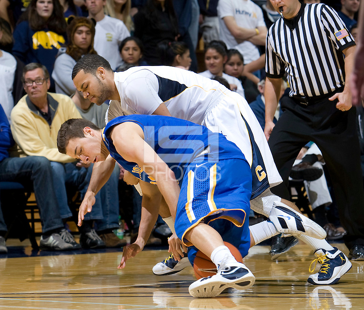 Emerson Murray of California fights for a loose ball against SJSU at Haas Pavilion in Berkeley, California on December 7th, 2011.   California defeated San Jose State, 81-62.