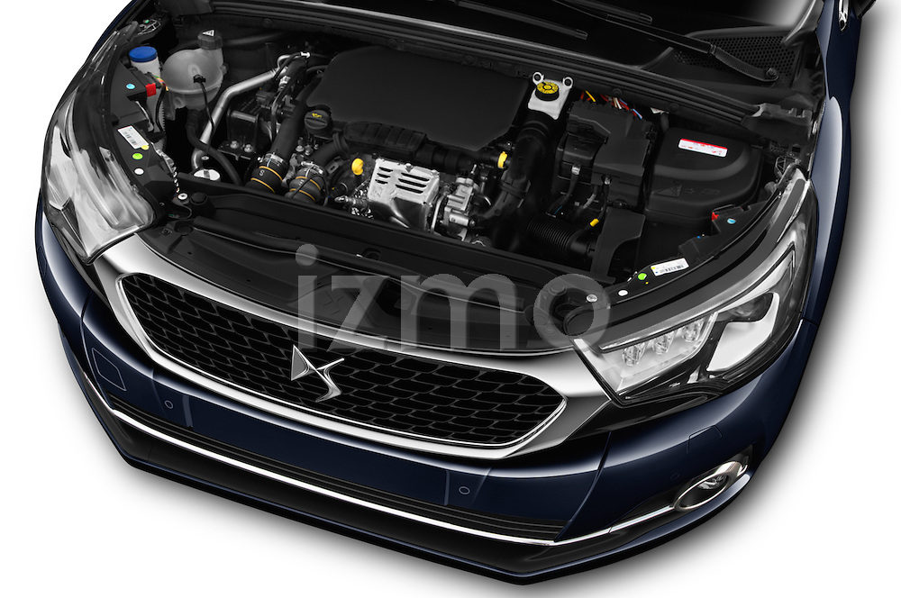 Car Stock 2016 Ds DS4 Opera-Blue 5 Door Hatchback Engine  high angle detail view