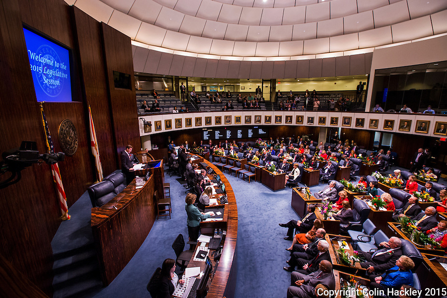 TALLAHASSEE, FLA. 3/3/15-Senate President Andy Gardiner, R-Orlando, speaks during the opening day of the 2015 Legislative Session Tuesday at the Capitol in Tallahassee.<br /><br />COLIN HACKLEY PHOTO