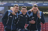 Will De Havilland (left), Max Muller (right) & Luke O'Nien of Wycombe Wanderers look in high spirits as they look over the pitch on arrival before the Sky Bet League 2 match between Grimsby Town and Wycombe Wanderers at Blundell Park, Cleethorpes, England on 4 March 2017. Photo by Andy Rowland / PRiME Media Images.