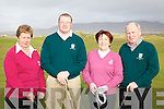 The Captains Drive In at Waterville took place on Sunday last in a window of sunshine pictured l-r; Lady President Abina Quirke, Captain Finbar McGillicuddy, Lady Captain Moira Lynott & President Michael O'Sullivan.