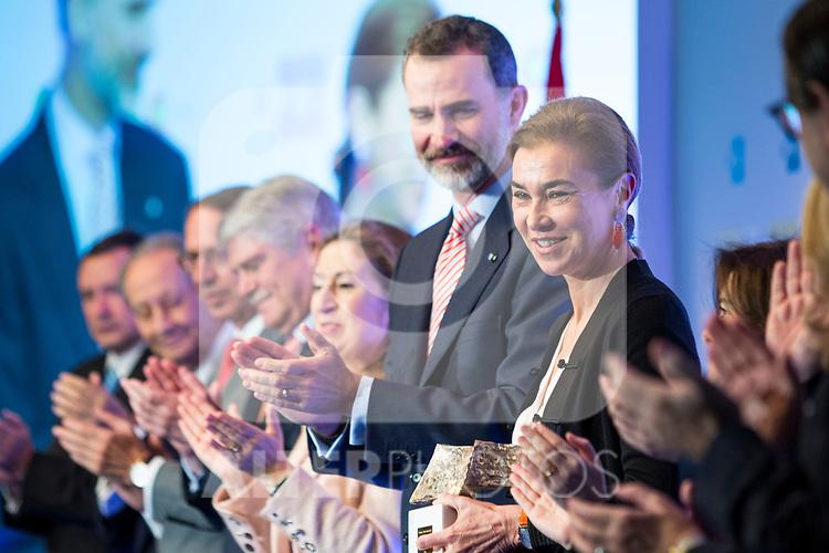 "Carmen Posadas and Spanish king Felipe attends XXXIV International prizes of journalism ""Rey de Espana"" and the XIII edition of the prize ""Don Quijote"" of journalism in Madrid, Spain. March 27, 2017. (ALTERPHOTOS / Rodrigo Jimenez)"
