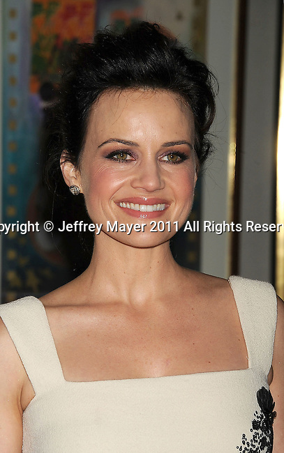 """BEVERLY HILLS, CA - MARCH 04: Carla Gugino arrives at the """"Elektra Luxx"""" Los Angeles Premiere at The Aidikoff Screening Room on March 4, 2011 in Beverly Hills, California."""