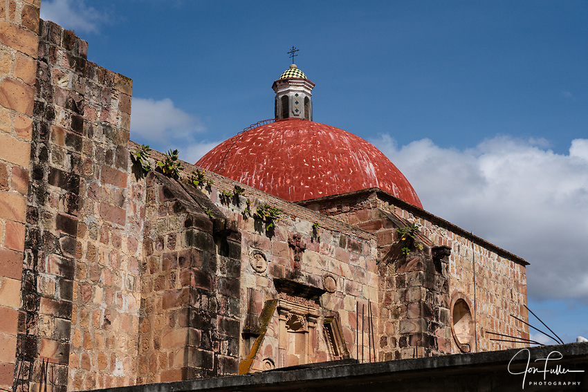 The dome of the 16th Century stone Church of San Marcos Tlapazola in the pueblo of San Marcos Tlapazola, in the Central Valleys of Oaxaca, Mexico.