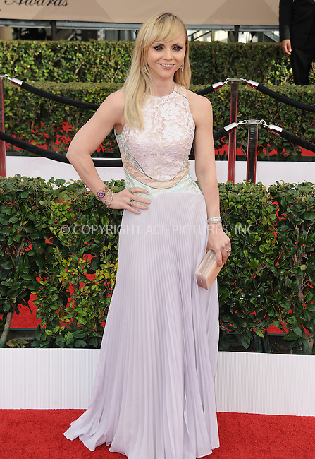 WWW.ACEPIXS.COM<br /> <br /> January 30 2016, LA<br /> <br /> Christina Ricci arriving at the 22nd Annual Screen Actors Guild Awards at the Shrine Auditorium on January 30, 2016 in Los Angeles, California<br /> <br /> By Line: Peter West/ACE Pictures<br /> <br /> <br /> ACE Pictures, Inc.<br /> tel: 646 769 0430<br /> Email: info@acepixs.com<br /> www.acepixs.com