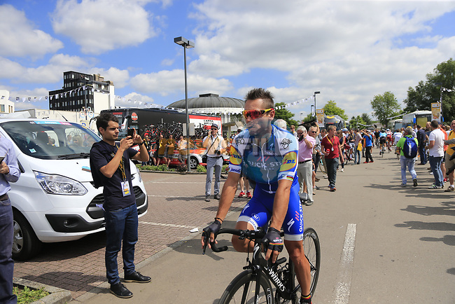 Philippe Gilbert (BEL) Quick-Step Floors at sign on in Mondorf-les-Bains before the start of Stage 4 of the 104th edition of the Tour de France 2017, running 207.5km from Mondorf-les-Bains, Luxembourg to Vittel, France. 4th July 2017.<br /> Picture: Eoin Clarke | Cyclefile<br /> <br /> <br /> All photos usage must carry mandatory copyright credit (&copy; Cyclefile | Eoin Clarke)