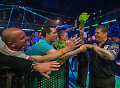 21.05.2015. London, England. Betway Premier League Darts Play-Offs.   Gary Anderson [SCO] arrives on the stage for the final against Michael van Gerwen [NED] .