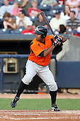 July 10th 2008:  Sebastien Boucher of the Bowie Baysox, Class-AA affiliate of the Baltimore Orioles, during a game at Canal Park in Akron, OH.  Photo by:  Mike Janes/Four Seam Images